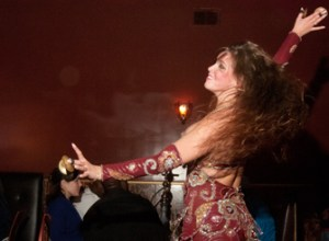 Student practices ancient Middle Eastern art of belly dancing