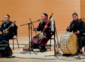Three members of the Alash ensemble, a Tuvan throat singing group, perform in the Community Music School. PHOTO BY MAX BOUVATTE