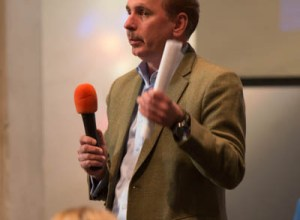 Webster University Provost Julian Schuster answers questions about the university's budget at Faculty Assembly on Feb. 6. PHOTO BY HOLLY SWAN/The Journal