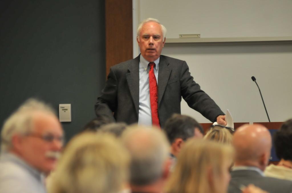 MEGAN FAVIGNANO/ The Journal Professor Jim Brasfield talks to faculty at Faculty Assembly.