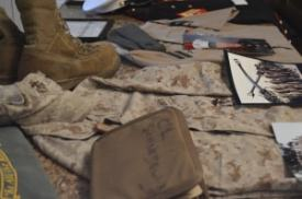 Various items from Schneidewind's time with the Marines. / photo contributed by Tim Schneidewind