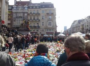 Study abroad student Teresa Lynn Hasan-Kerr snaps a photo at a gathering of mourners in Brussels after last week's attacks. Hasan-Kerr landed in one of the targeted airports a day before the attacks.  TERESA LYNN HASAN-KERR / Contributed Photo