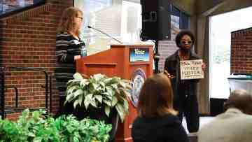 Student Yai Nikos protests at the Diversity and Inclusion Conference on March 1. The conference was held as a way to explore diversity.