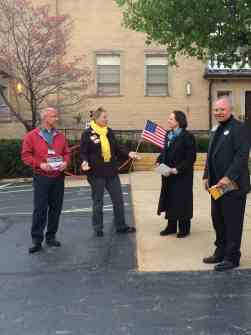 Frank Janoski meets with volunteers and voters on March 5.