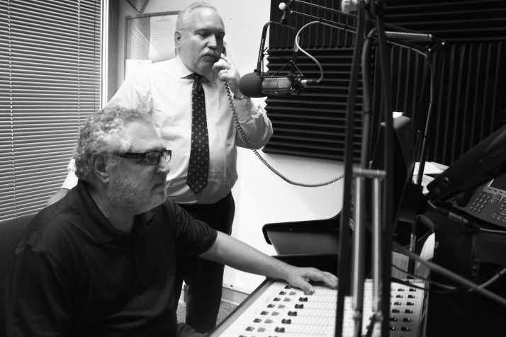 Rick Rockwell (right) and Jim Singer (left) work in the Galaxy Radio Station.
