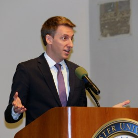 Senate candidate Jason Kander speaks to Webster students in the Winnifred Moore Auditorium. | BRIAN RUTH / The Journal