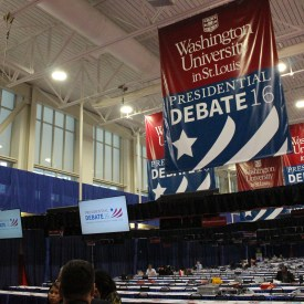 Journalists from around the world will file stories on the debate while watching live footage in the press pool / Photo by Brian Ruth