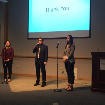 Students Brenda Tinnemeyer and Angela Meng conclude their presentation, along with SGA president C. Wiley.  | JESSICA KARINS / The Journal