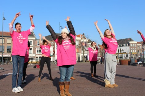 "Webster students in Leiden began a flash mob as a part of the ""One Billion Rising"" campaign. / Photo by Brian Ruth"