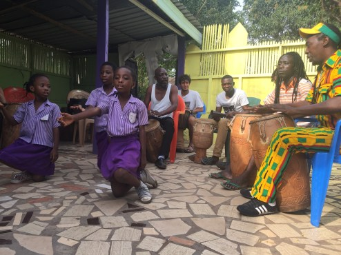 Photo credit: Haley Walter Students and instructors at Anani Memorial International School demonstrate traditional Ghanian dance and music.