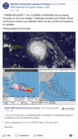 Hurricane Irma is expected to make landfall as early as Saturday. Governor Rick Scott issued a state of emergency across all counties in Florida. PC: Webster University Lakeland Facebook