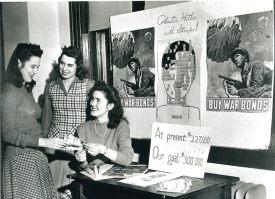 Photo Credit: Webster University Webster students sell war bonds during World War II on campus.