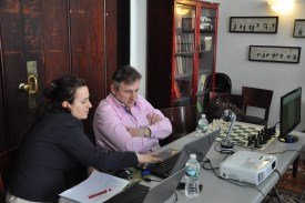 Maxim Dlugy and Irina Krush commentate during Final Four tournament