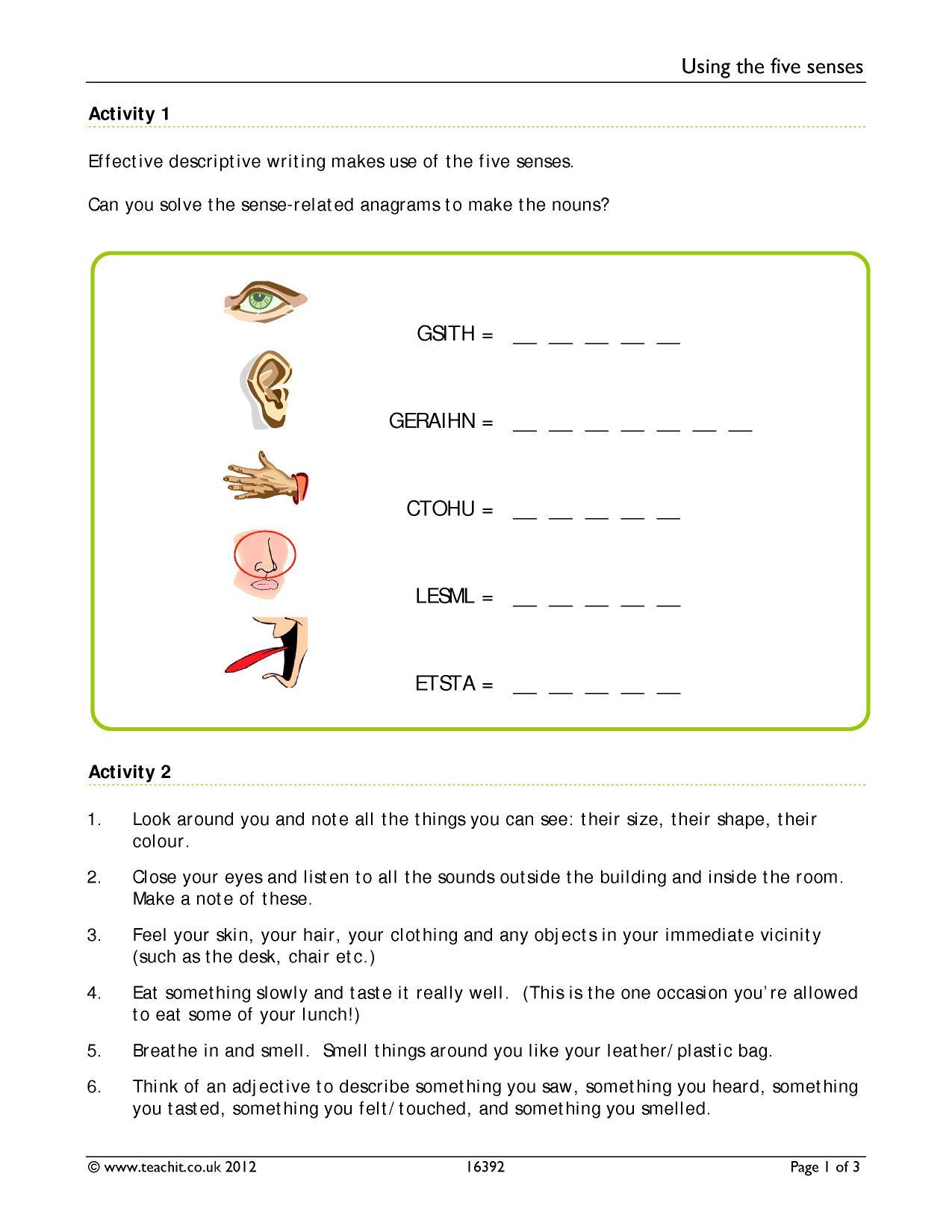 5 Senses Clipart Descriptive Writing 5 Senses Descriptive