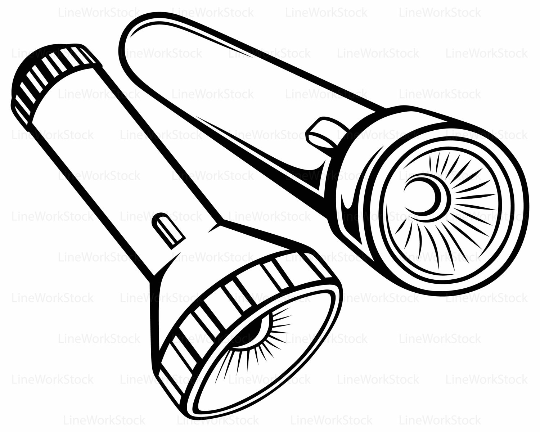 Flashlight Clipart Black And White Flashlight Black And