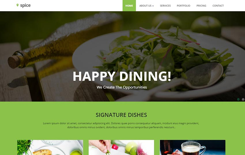 Restaurant Material Design Website Template Free