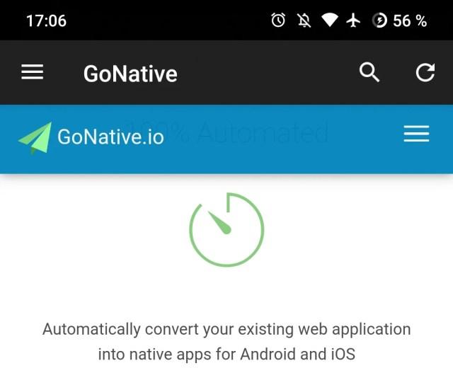 Ein Screenshot von der Gonative-App, die 2 App-Leisten (Header) hat