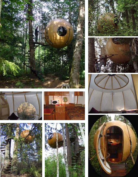 Creative and Unique Spherical Tree House Design