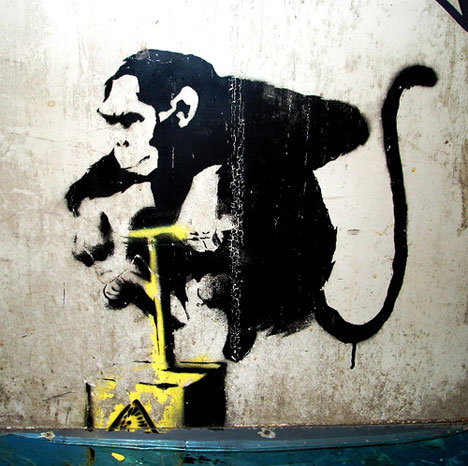 guerrilla art banksy chimp detonator