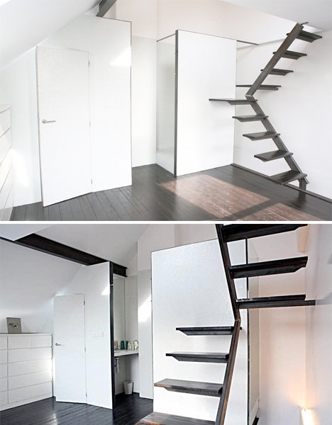 Steps To Saving Space 15 Compact Stair Designs For Lofts Urbanist | Clever Stairs For Small Spaces | Staircase | Upstairs Small Space | Front Window | Small Area | Mini