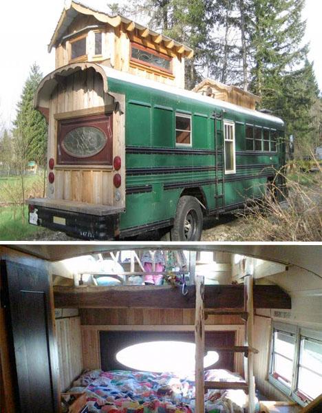 Converted Buses Green Cedar