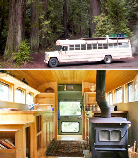 Converted Buses Wood Stove 1