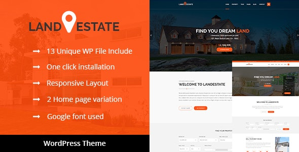 Land Estate - Real Estate/Single Property WordPress Theme 1