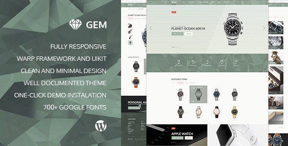 Gem — Luxury eCommerce Responsive WordPress Theme 1