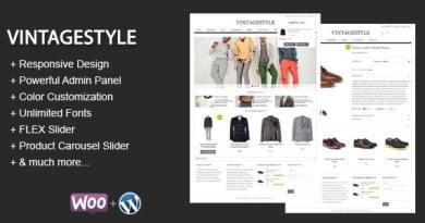 VintageStyle - Responsive E-commerce Theme 2