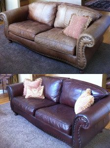 Before and after couch leather restoration services from Creative Colors