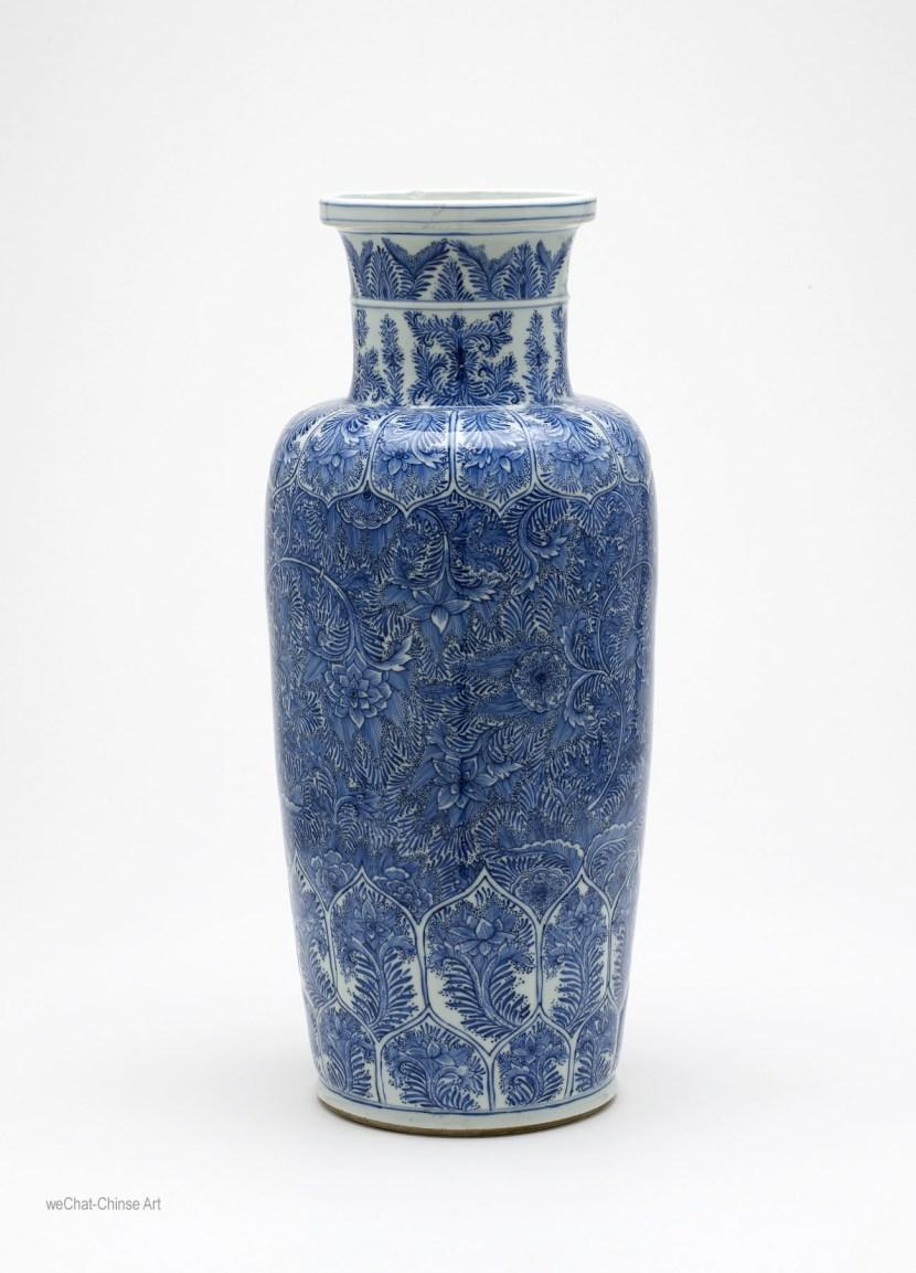Chinese ming kangxi blue white porcelain ceramic art history kangxi vase with dense vine decorations reviewsmspy