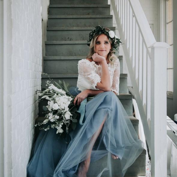 Blackacre Conservancy Wedding Photos Dusty Blue Wedding Dress