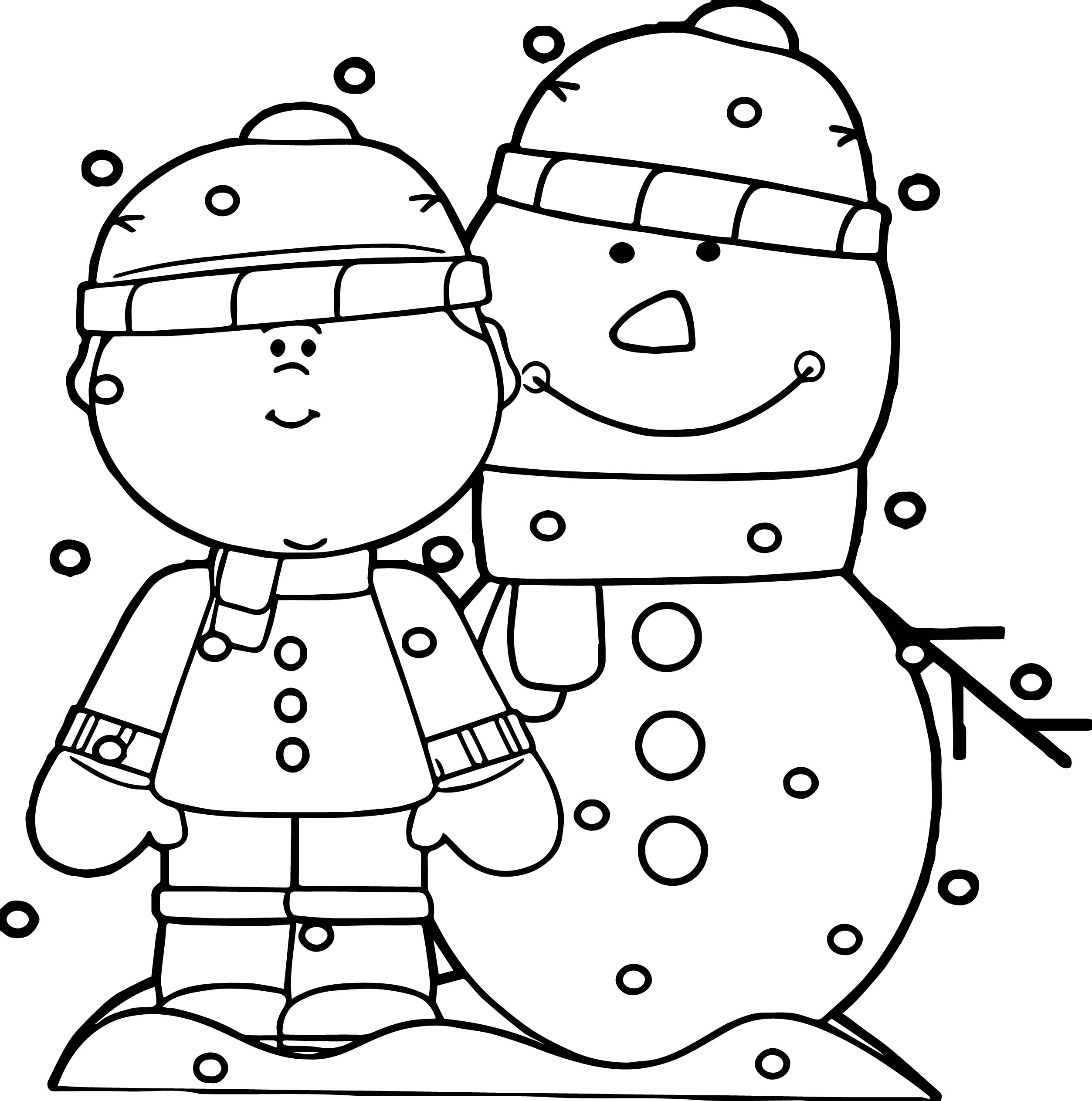 Boy With Snowman In The Snow Coloring Page
