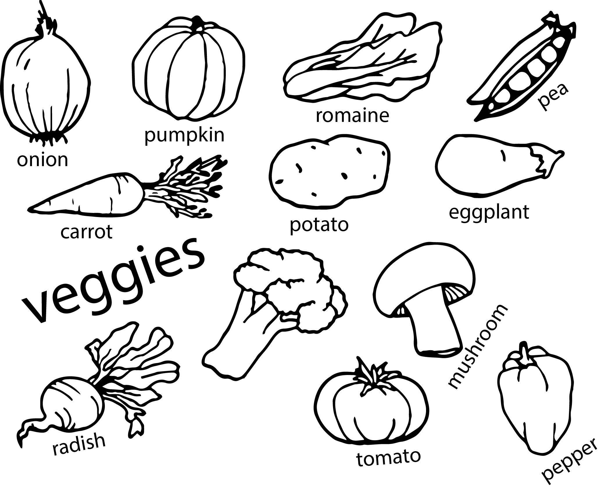 Vegetables Coloring Page
