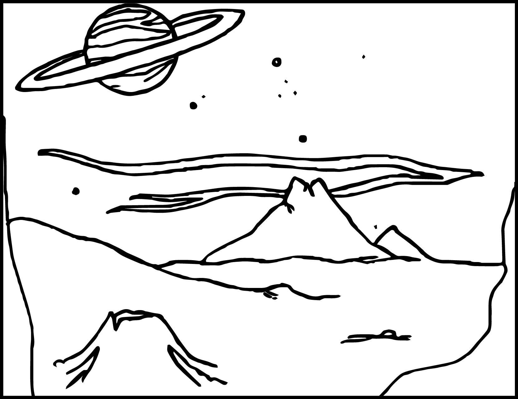 Alien Landscape Coloring Page Wecoloringpage