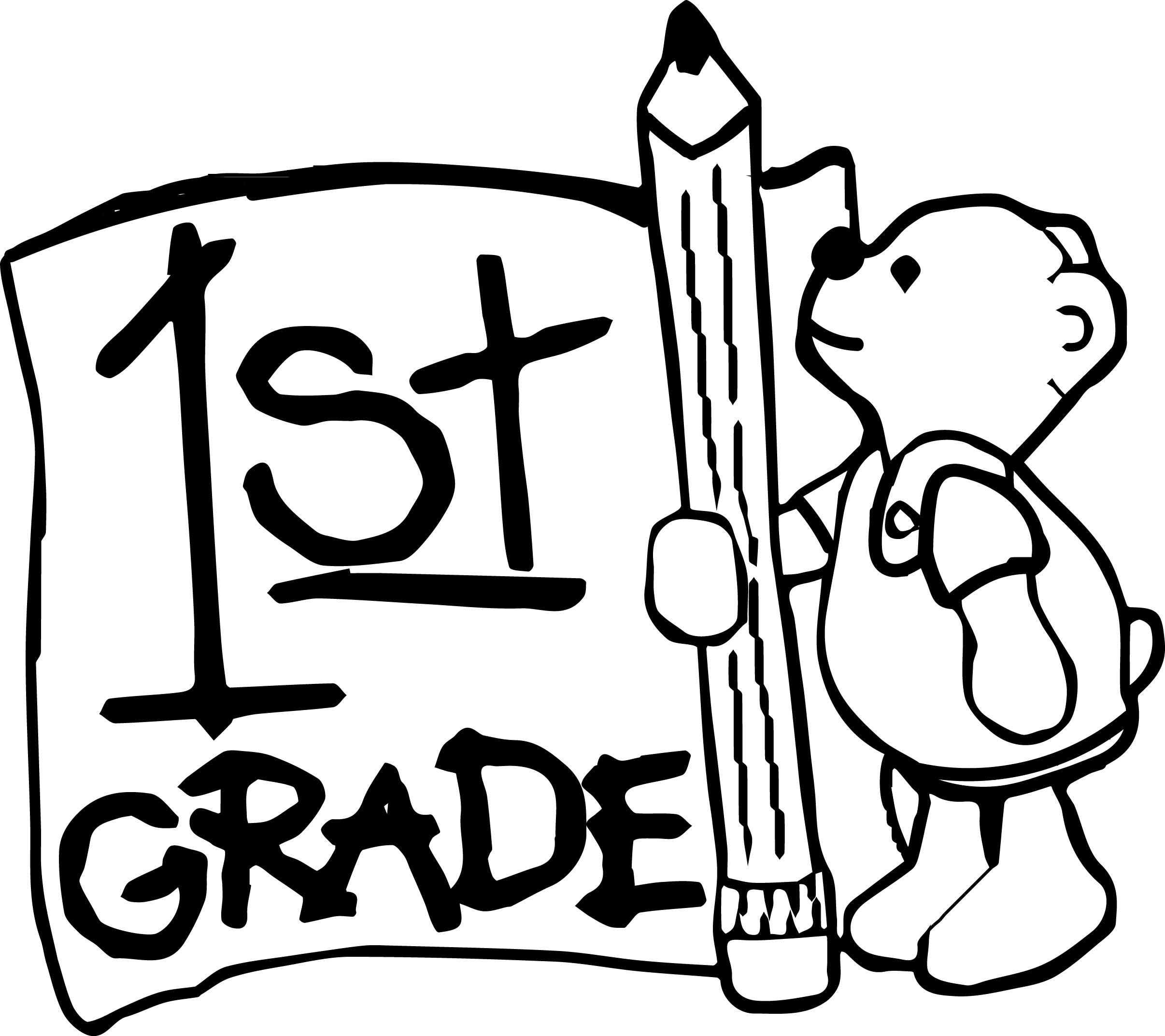 1st Grade Bear Coloring Page