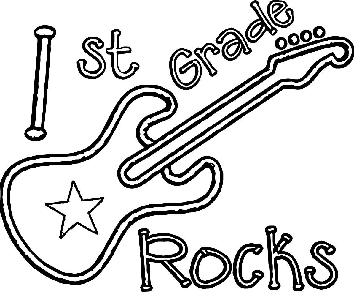 1st Grade School Guitar Coloring Page
