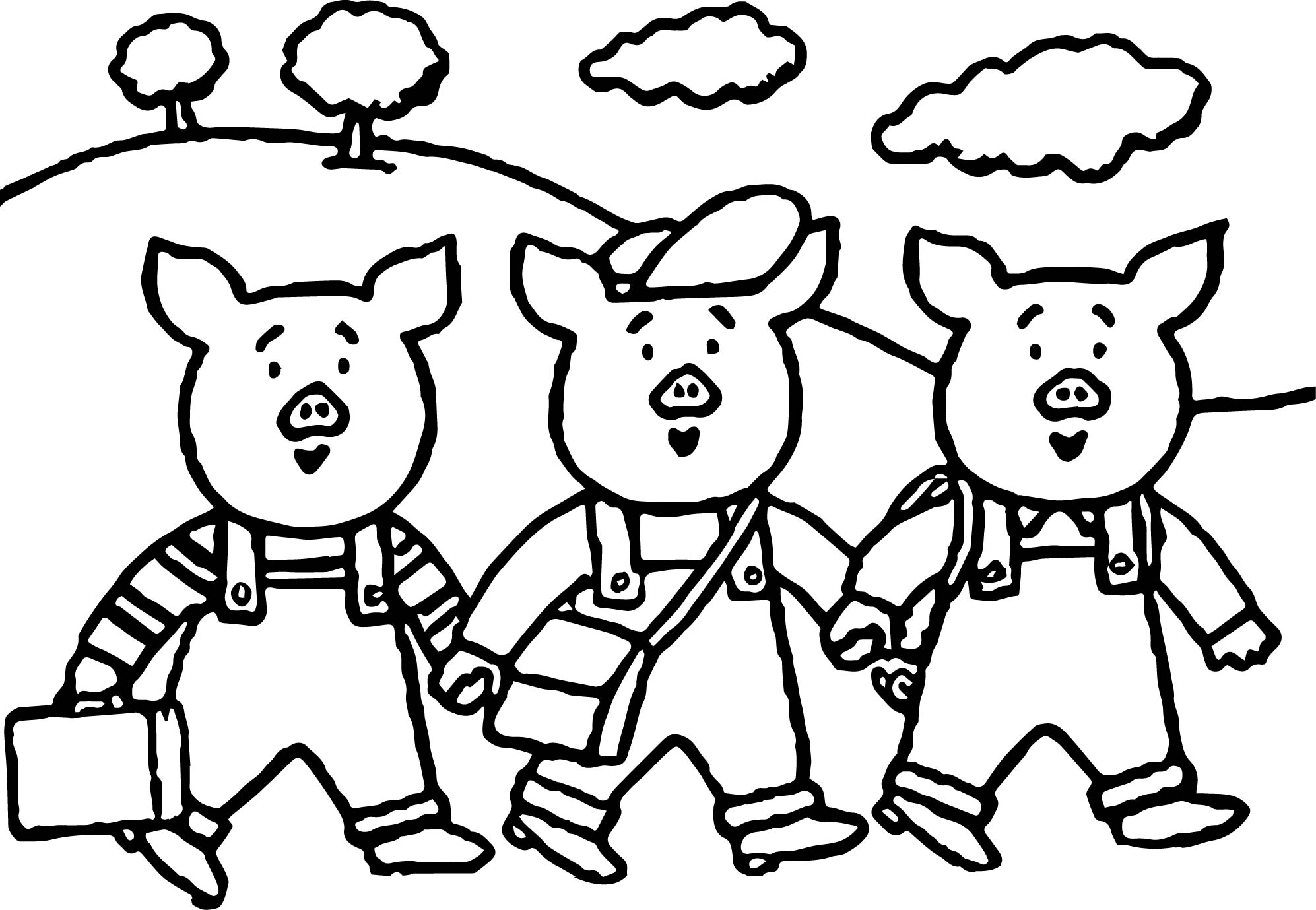 3 Little Pigs School Coloring Page