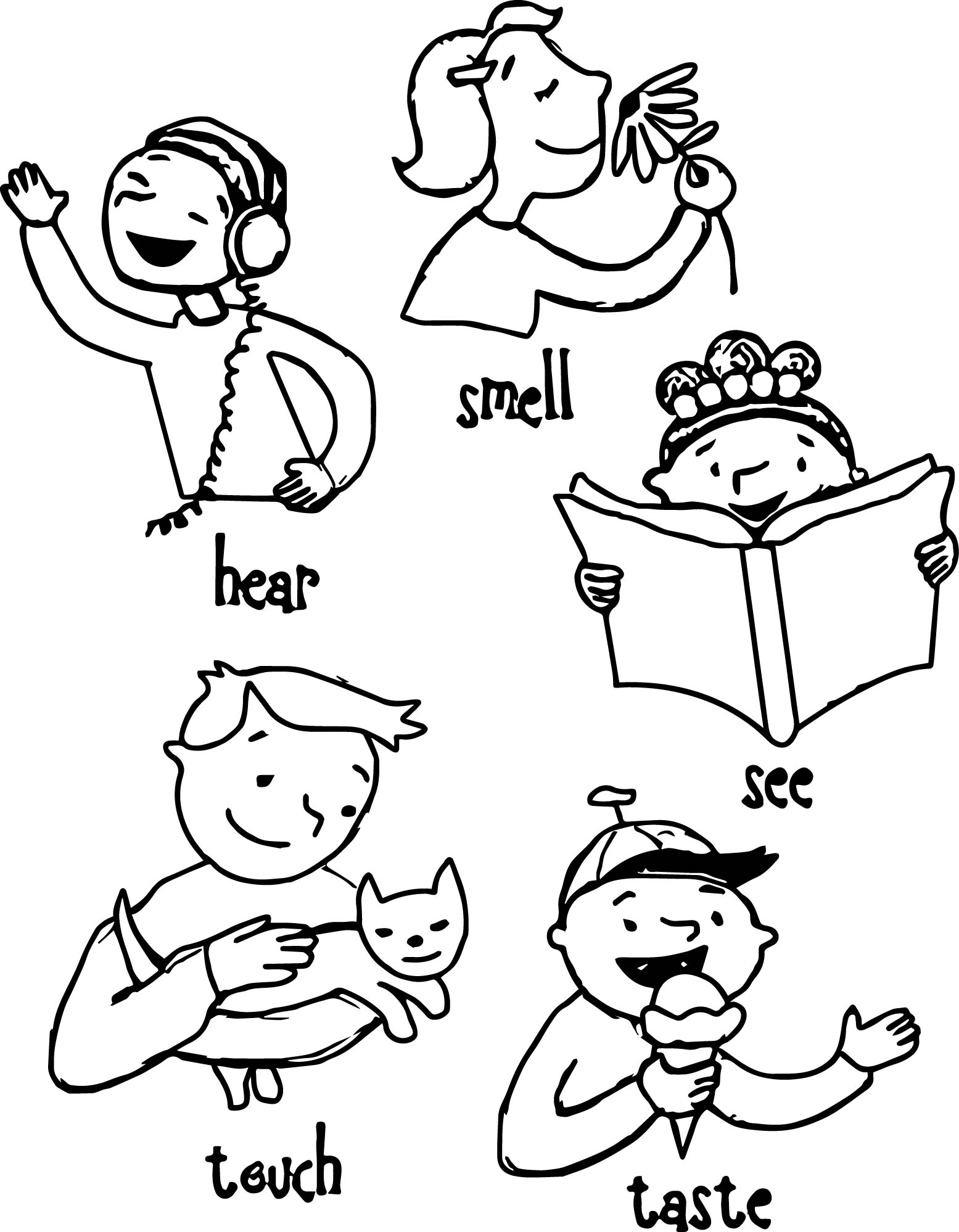 Sense Of Hearing Coloring Page Coloring Pages