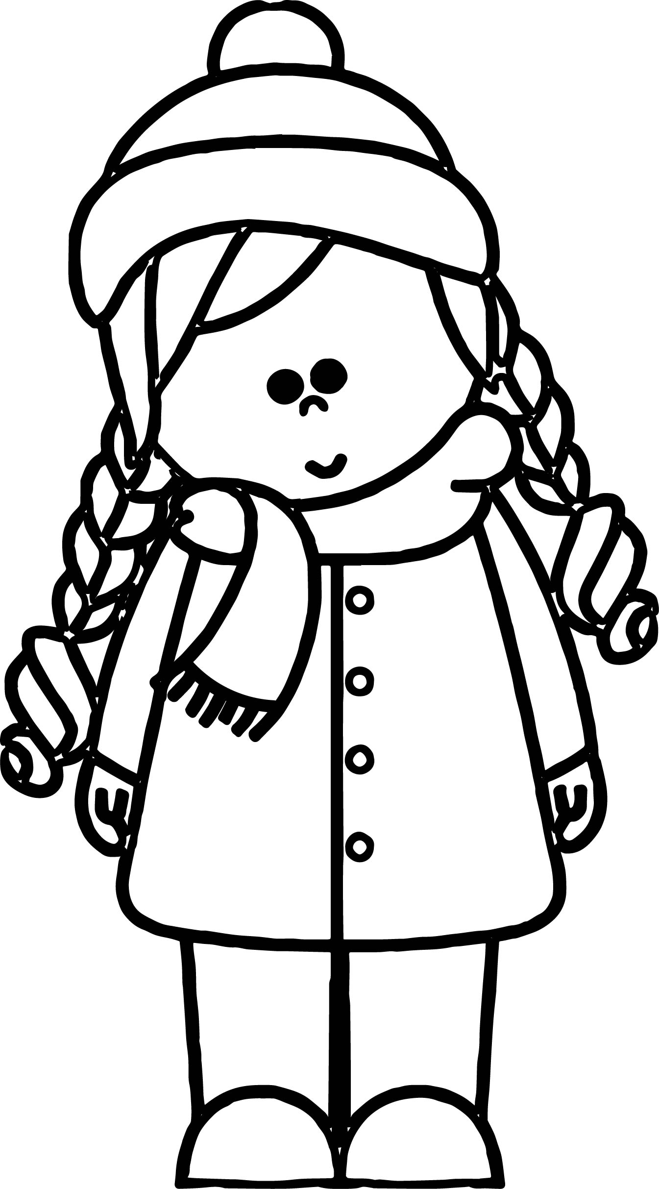 Cold Weather Girl Kids Coloring Page
