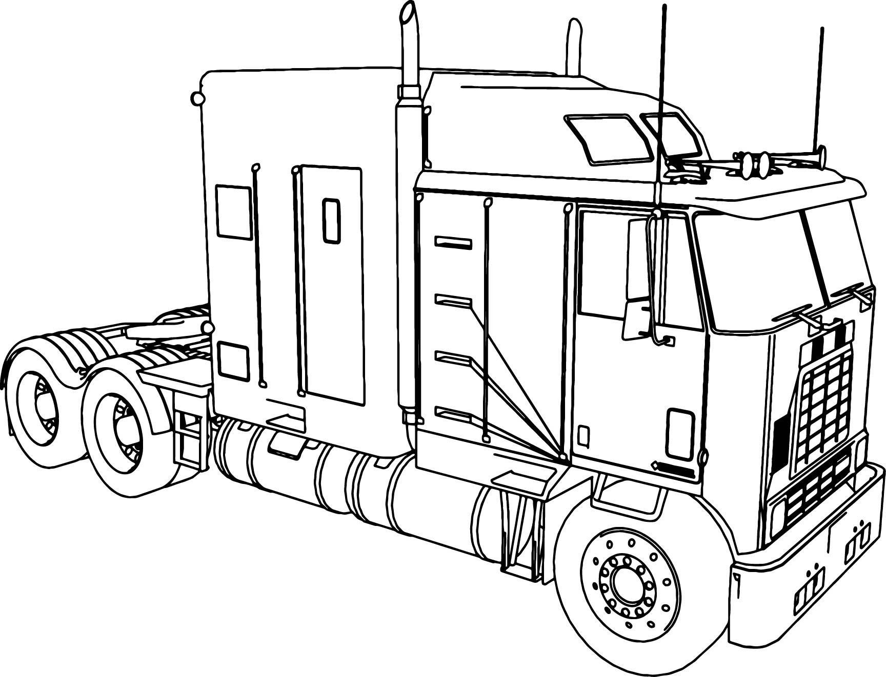 International Long Trailer Truck Coloring Page