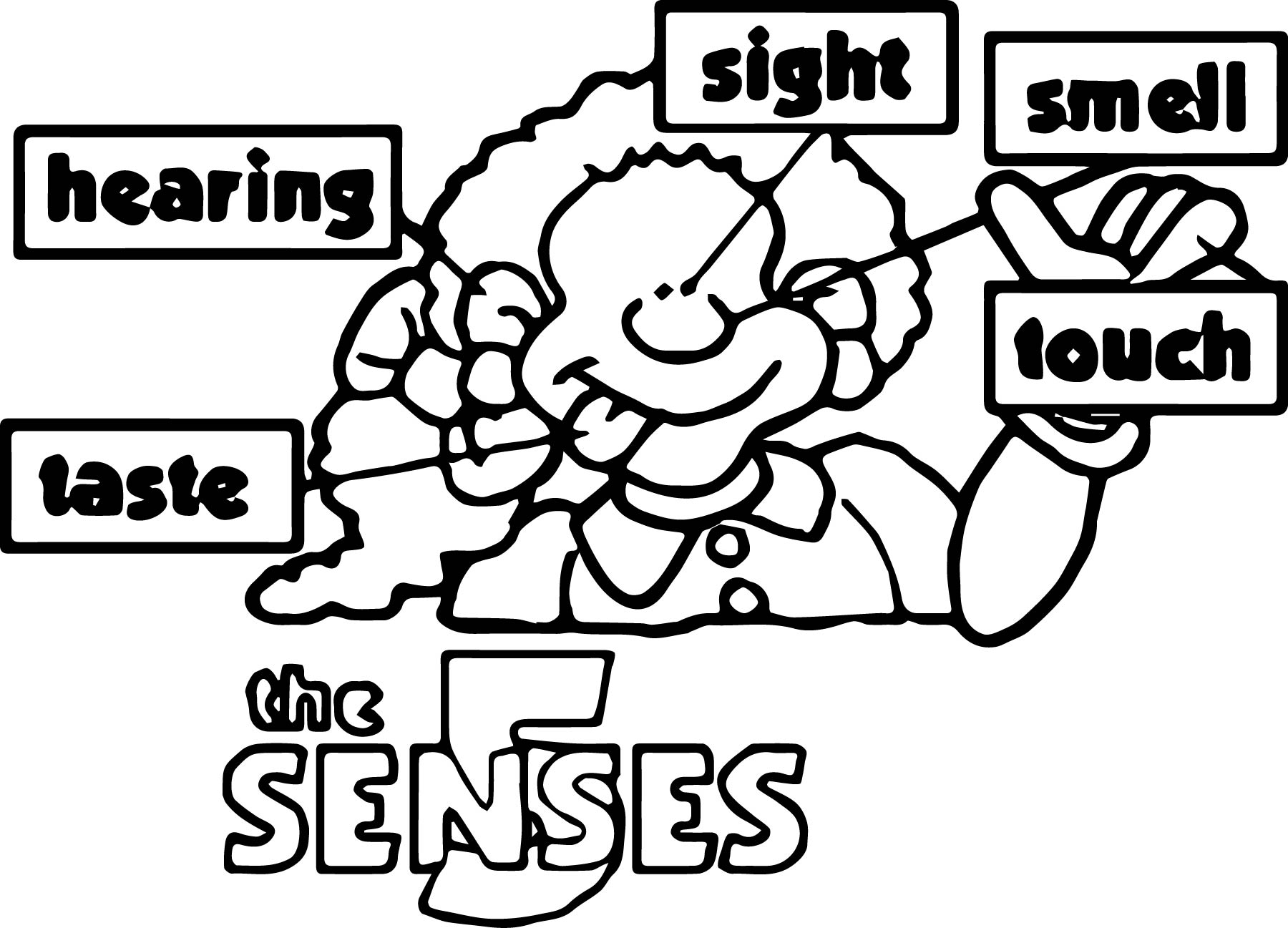 5 Senses Coloring Pages For Kids
