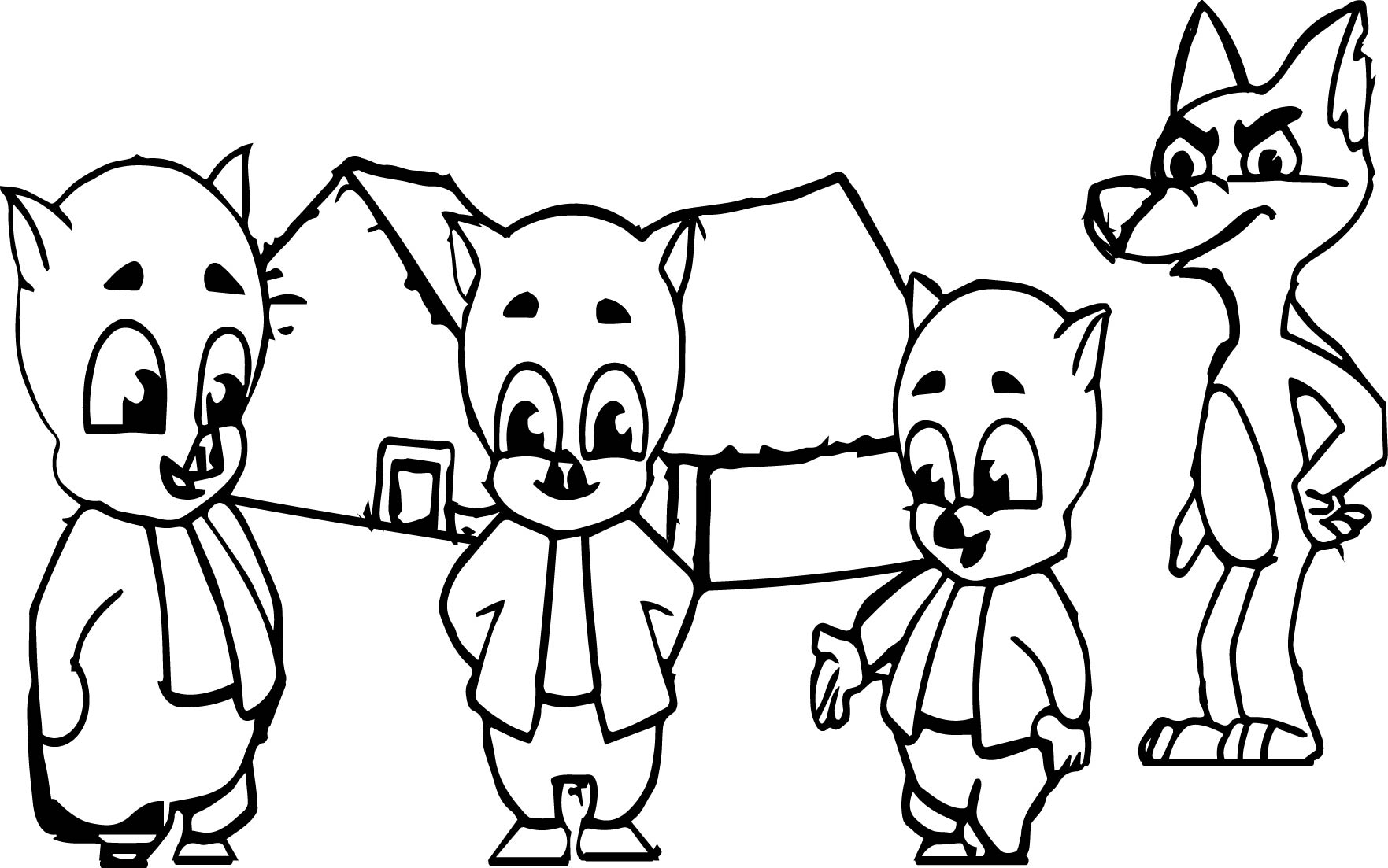 3 Little Pigs And The Big Bad Wolf Coloring Page