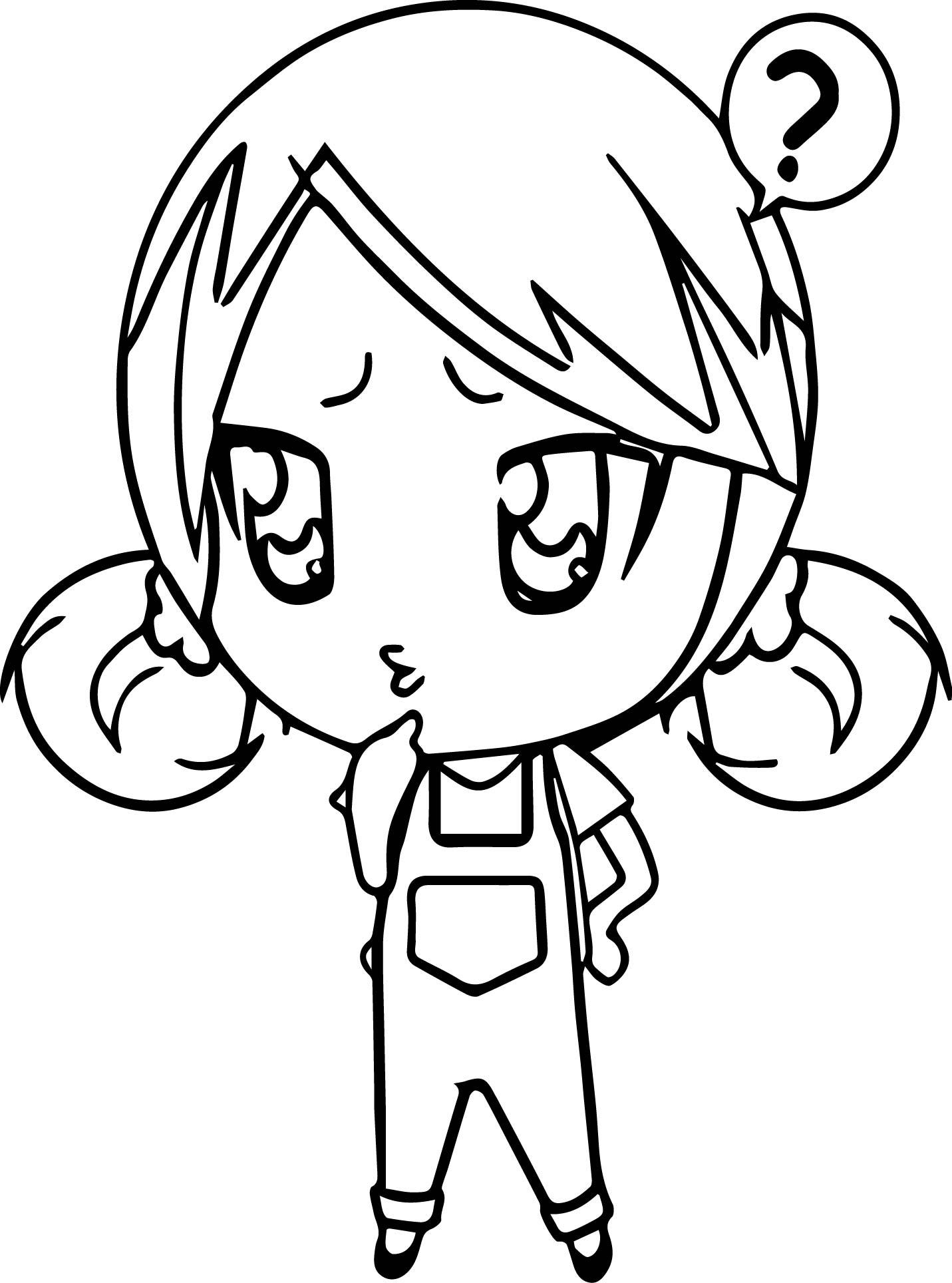 Anime Chibi Girl Coloring Page
