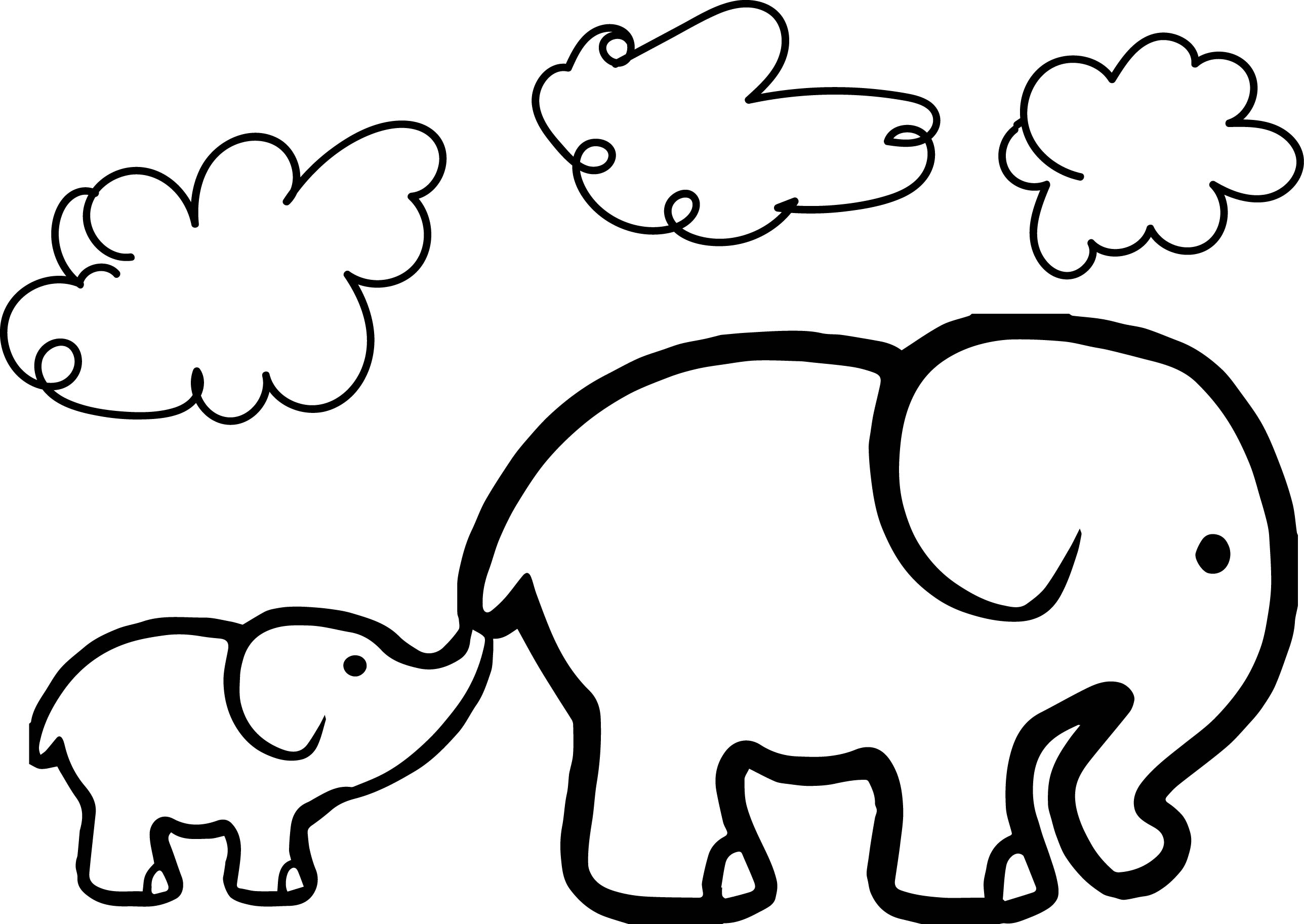 Baby Elephant And Adult Elephant Coloring Page Wecoloringpage
