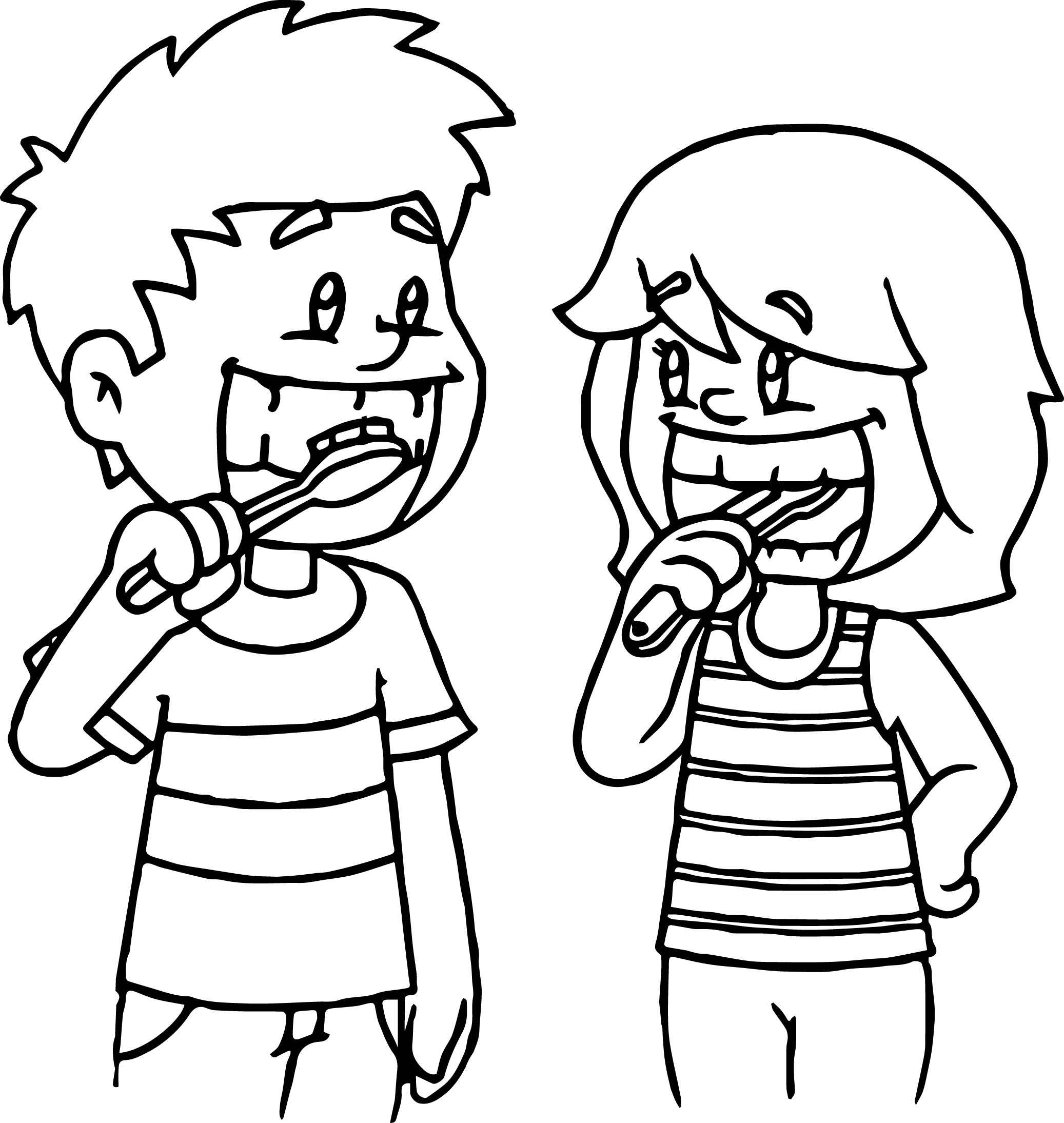 Kids Brushing Teeth Coloring Page