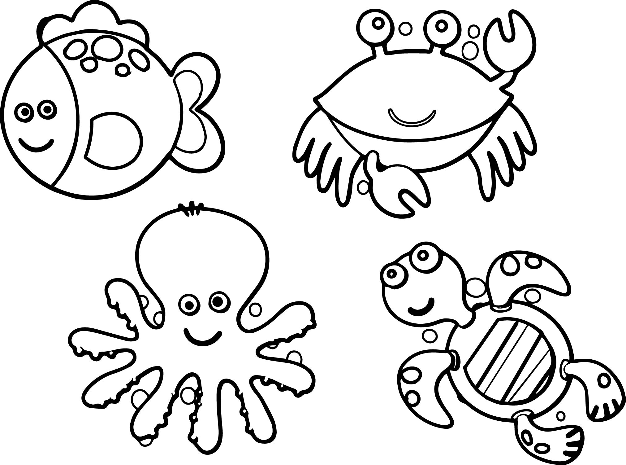 Sea Life Animals Coloring Page
