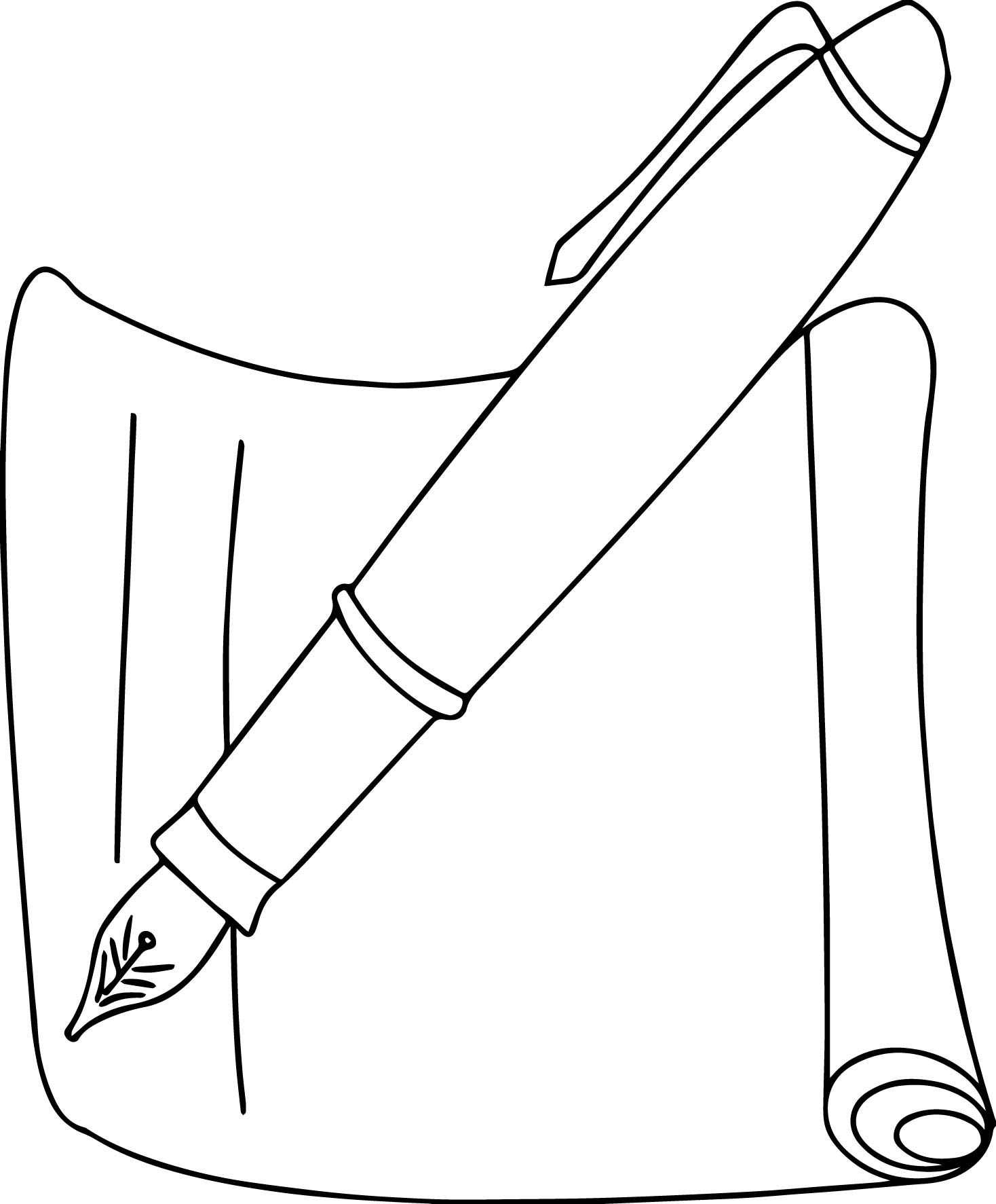 Calligraphy Pen And Paper Coloring Page