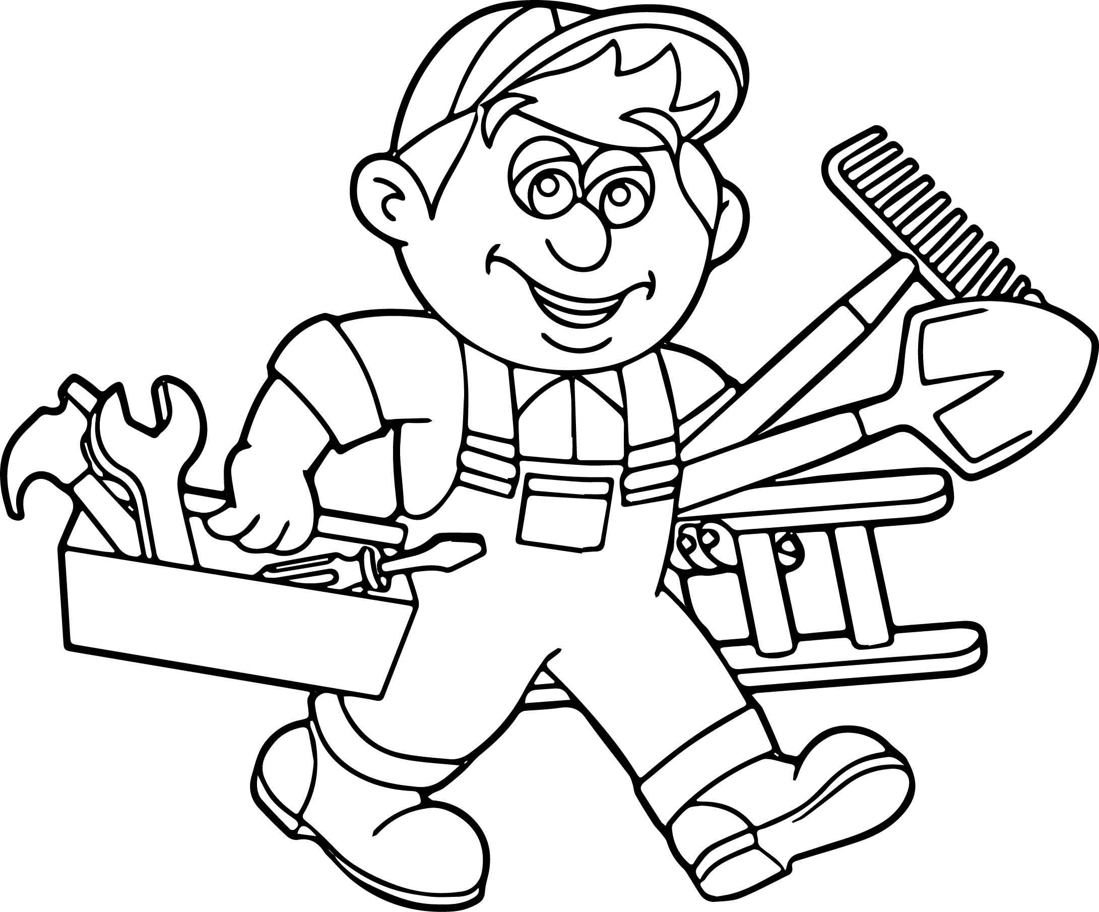 Carpenter Handyman Services Toolbox Coloring Page