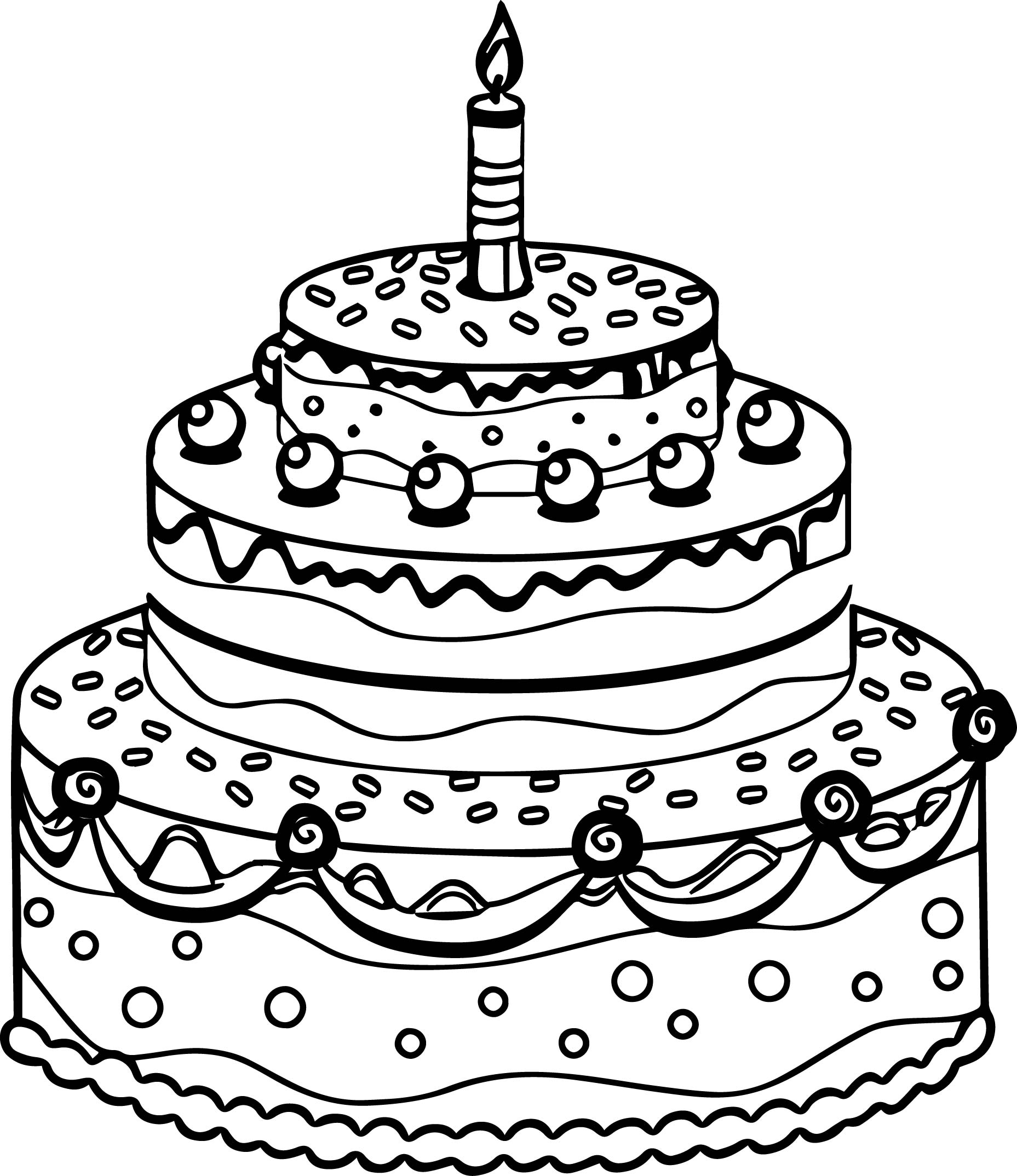 Coloring Page Of Birthday Cake